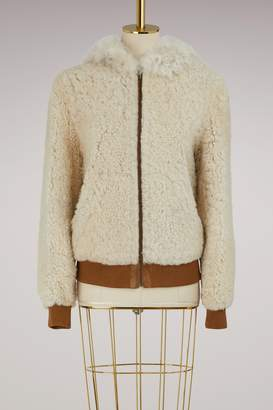 Yves Salomon Meteo Lamb bomber with hood
