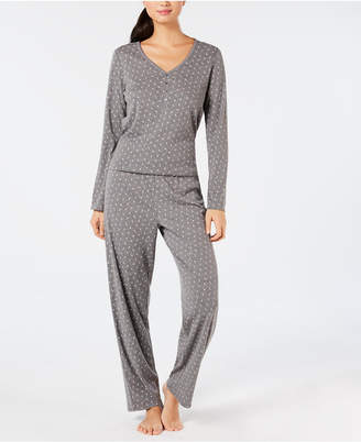 Charter Club Cotton Long Sleeve Button Front Pajama Set