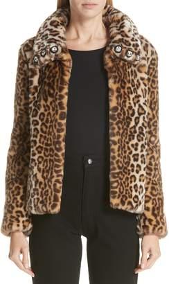 Shrimps Leopard Print Short Faux Fur Jacket