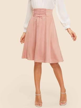 Shein Lace Up Wide Waist Skirt