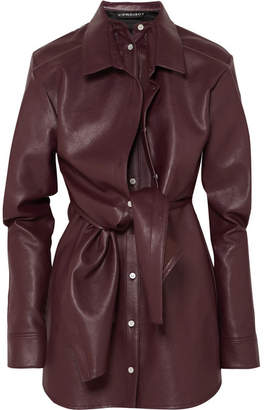 Y/Project Layered Faux Leather Mini Dress - Burgundy