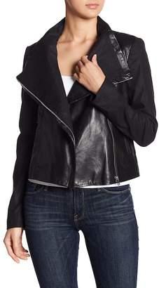 LAMARQUE Spread Collar Mixed Media Leather Jacket