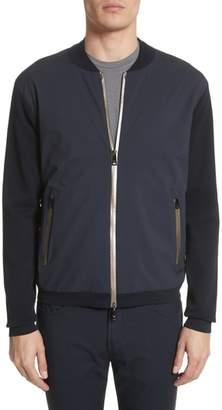 Emporio Armani Regular Fit Mixed Media Bomber Jacket
