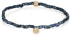 Luis Morais Men's Hamsa-Charm Beaded Bracelet-Blue