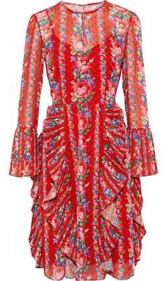 Mikael Aghal Pleated Ruffled Floral-Print Fil Coupé Georgette Dress