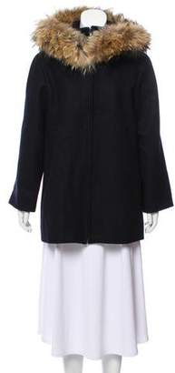 Nina Ricci Wool Fox Fur-Trimmed Coat