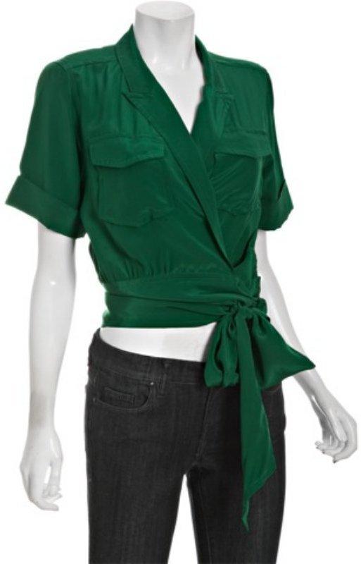 Marc by Marc Jacobs rich green crepe de chine silk wrap top
