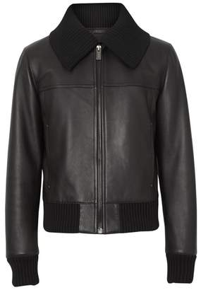 Burberry Detachable Collar Lambskin Bomber Jacket