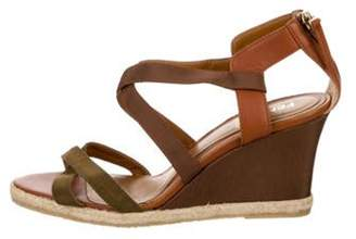 Fendi Crossover Wedge Sandals Brown Crossover Wedge Sandals