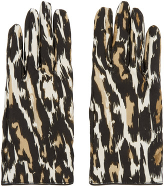 Raf Simons Beige and Brown Animal Fabric Gloves