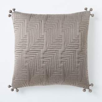 west elm Washed Silk Quilted Pillow Cover - Taupe Gray
