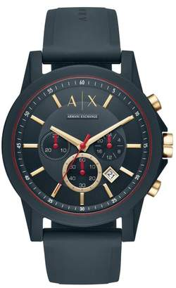 Armani Exchange Outerbanks Chronograph Silicone Strap Watch, 47mm