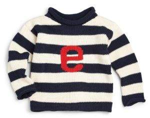 MJK Knits Personalized Baby's, Toddler's& Kid's Striped Cotton Letter Sweater