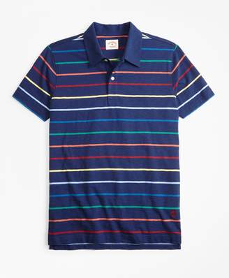 Brooks Brothers Multi-Color Striped Jersey Polo Shirt