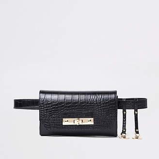 River Island Black croc lock front belted bum bag