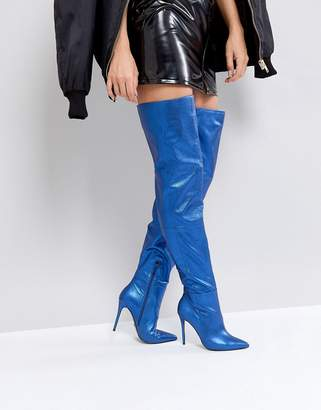 KG by Kurt Geiger Kurt Geiger London Vita Blue Leather Heeled Knee High Boots