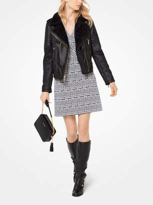 MICHAEL Michael Kors Faux-Shearling and Leather Moto Jacket