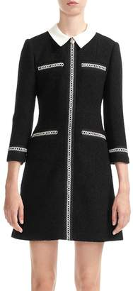 Maje Renali Contrast-Collar Tweed Mini Dress
