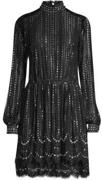 MICHAEL Michael Kors Embellished Highneck Lace Dress