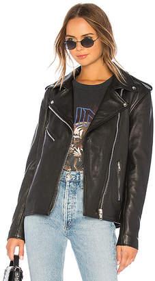 Understated Leather Oversized Moto Jacket
