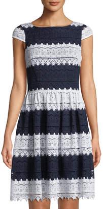 Karl Lagerfeld Paris Striped-Lace Cap-Sleeve Dress