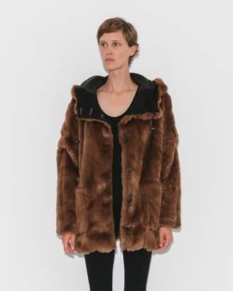 Suzanne Rae Caramel Hooded Faux Fur Jacket