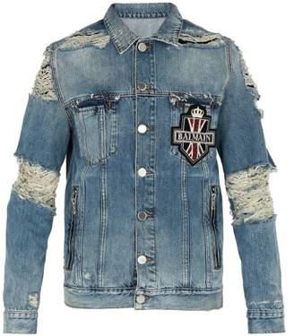 Balmain - Distressed Crystal Embellished Denim Jacket - Mens - Blue
