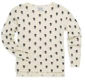 Autumn Cashmere Little Girl's& Girl's Micro Skull Merino Wool and Cashmere Sweater
