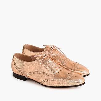 J.Crew Leather oxfords in metallic rose gold