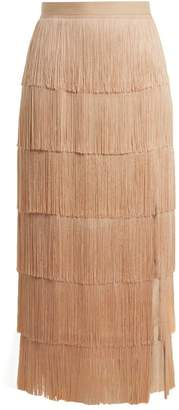 Raey Slit Front Fringed Silk Midi Skirt - Womens - Nude