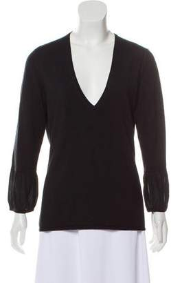 Burberry V-Neck Silk-Wool Sweater