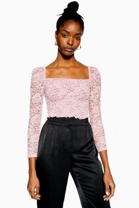 Topshop Metallic Daisy Lace Top