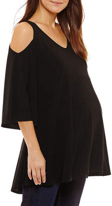 Tiana B 3/4 Sleeve V Neck Jersey Blouse - Maternity