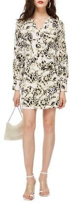 Topshop Chain Print Wrap Dress