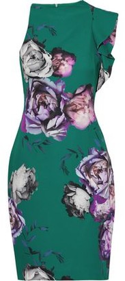 Black Halo Pabla Ruffle-trimmed Floral-print Stretch-cady Mini Dress