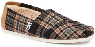 Toms Holiday Plaid Faux Shearling Lined Slip-On Shoe