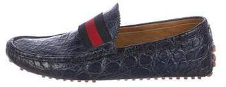 39cb04cc864 Gucci Crocodile Driving Loafers