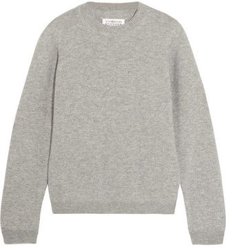 Maison Margiela - Suede-paneled Wool Sweater - Gray $495 thestylecure.com