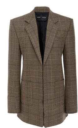 Proenza Schouler Plaid Notch Lapel Wool-Blend Blazer