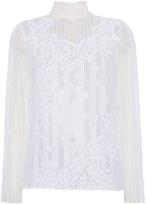 Valentino Silk High Neck Lace Top
