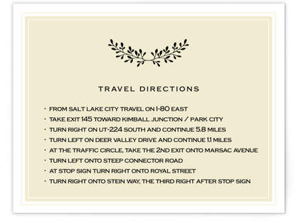 Aspen Ridge Directions Cards