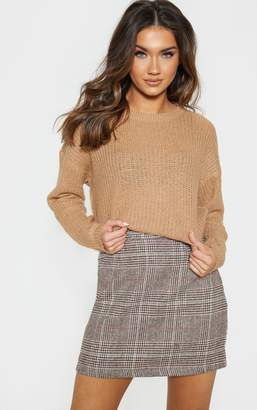 PrettyLittleThing Camel Waffle Knitted Crew Neck Jumper