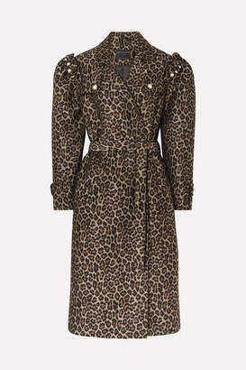 Mother of Pearl Felix Faux Pearl-embellished Jacquard Coat - Leopard print