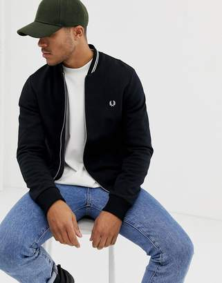 Fred Perry tipped sweat bomber jacket in black