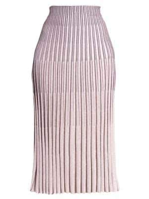 Cédric Charlier Pleated Metallic Midi Skirt