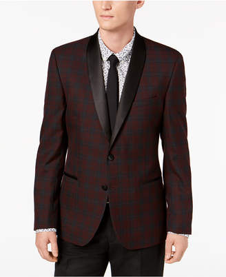 Nick Graham Men Slim-Fit Stretch Burgundy Plaid Dinner Jacket