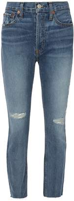 RE/DONE High-Rise Destroyed Ankle Crop Jeans