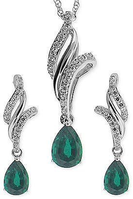 No Vendor Emerald (3/4 ct. t.w.) and White Topaz (3/8 ct. t.w.) Jewelry Set in Sterling Silver