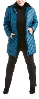 Big Chill Women's Plus Size Long Chevron-Quilt Hooded Down Blend Coat