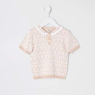 River Island Mini girls Pink RI polo shirt